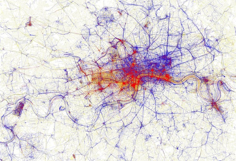 A Series of Maps Reveals the Difference in How Cities are Perceived by Tourists and Locals, London. Image © Eric Fischer, via Flickr; license CC BY-SA 2.0