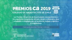 Abren convocatoria a los Premios CA del Colegio de Arquitectos de Chile 2019