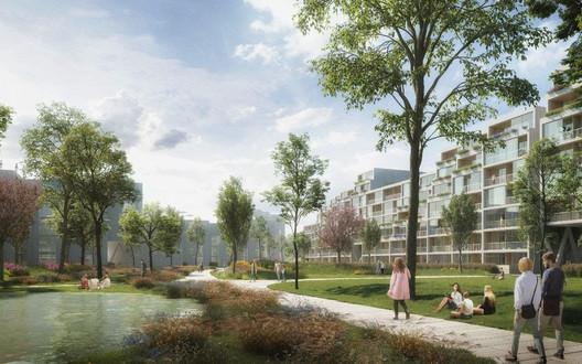Benthem Crouwel Design Landscaped Residential District in Prague