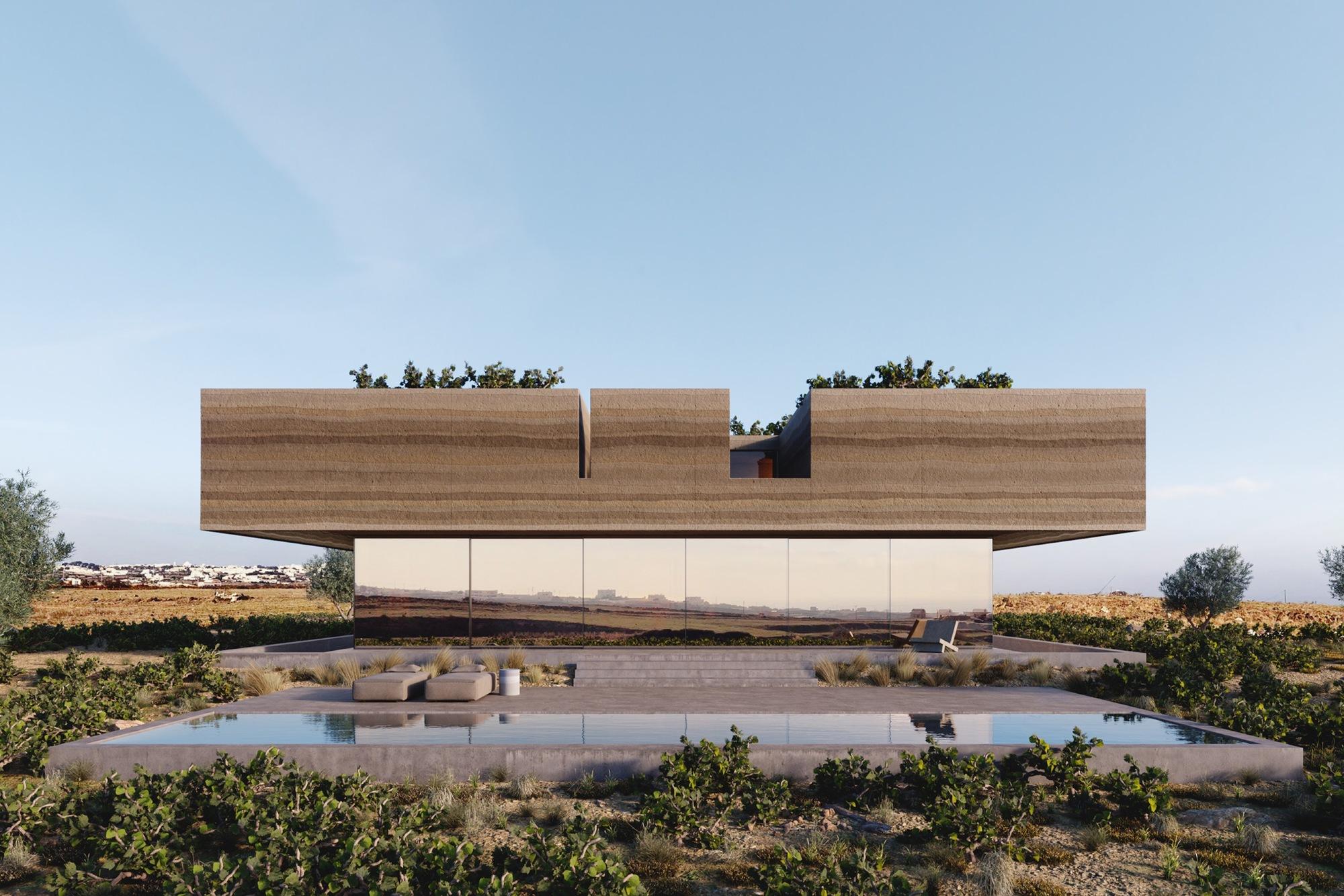 Kapsimalis Architects Carve Land from Santorini Vineyard to Create Floating House