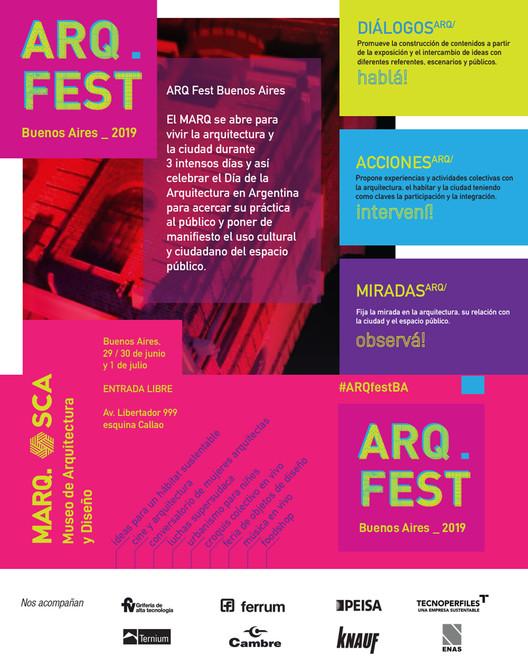 ARQFest Buenos Aires 2019, Flyer de difusión del Evento. Producido por Grupo Sur Comunicación.