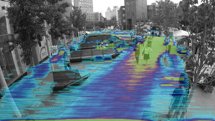 Plaza Life Revisited: Field Guide Release, Machine learning heat map showing the spatial distribution of people in 51 Astor.