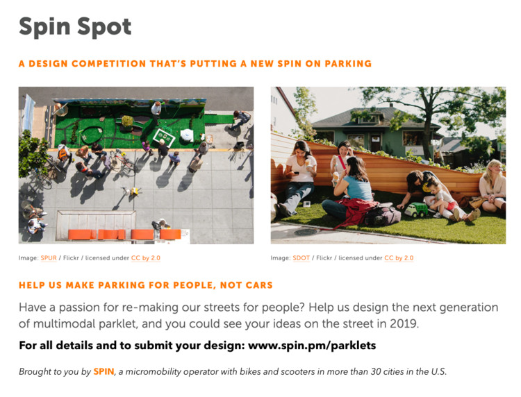 Open Call: design the next generation of multimodal parklet, Visit www.spin.pm/parklets to learn more and apply. Image credit: Spin