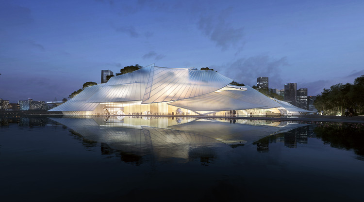 "MAD Designs New ""Floating Theater"" of Glass Sails in China, Yiwu Grand Theater. Image Courtesy of MAD Architects"