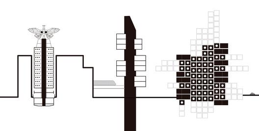 Montagem feita a partir dos desenhos cedidos pelos autores. . Image Cortesia de a+t architecture publishers