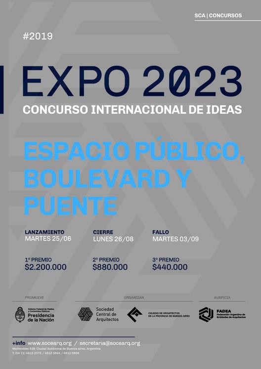 """Concurso Internacional de Ideas Expo 2023: """"Espacio Público, Boulevard y Puente"""", Cortesía de Sociedad Central de Arquitectos"""