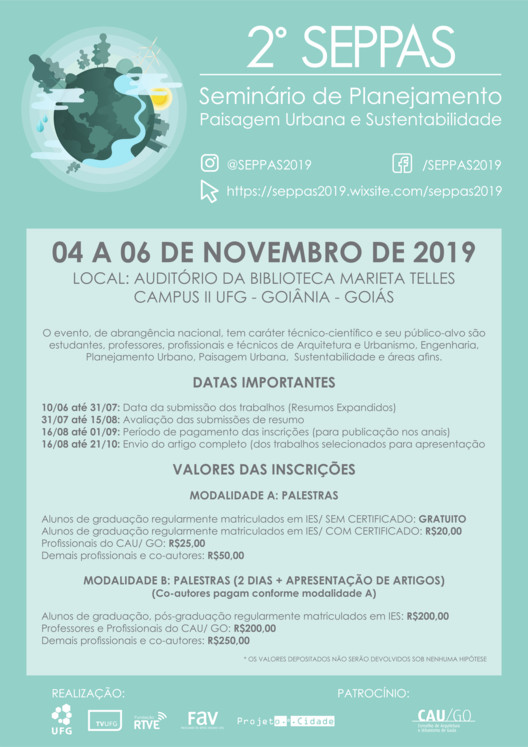2º Seminário De Planejamento, Paisagem Urbana e Sustentabilidade - II SEPPAS (2019), SEPPAS 2 - II Seminário de Planejamento, Paisagem Urbana e Sustentabilidade (2019)