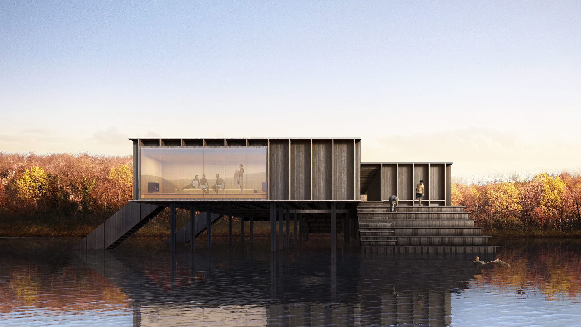 swedish arkitekter sweden bathhouse architects traditional architecture architect joenkoeping kallbadhus cold archdaily project joenkoeping bathhouses take bathing arch contemplative experience