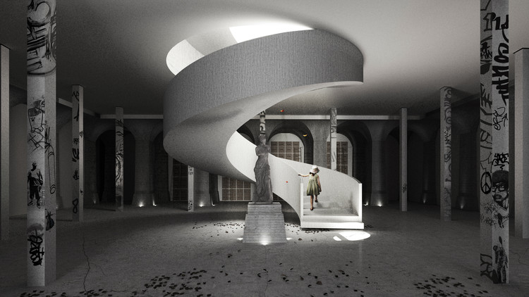 """Projeto transforma antigo reservatório de água de Paris em centro cultural, """"Stairway to Heaven"""" . Imagem © Thomas Jensen"""