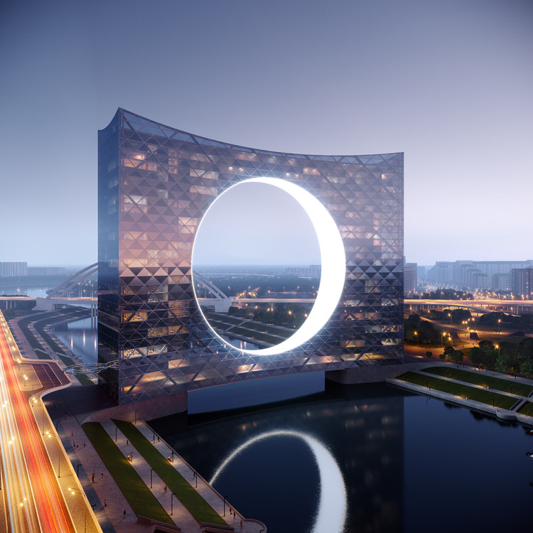 "Fundamental and Omega Design ""Tower of the Sun"" High-Rise Over Kazakhstan's Ishim River"