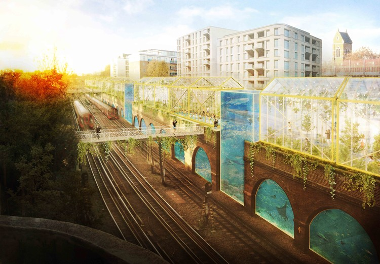 Bauchplan Designs London High Line with Aquaponics and Swimming Pools, Fish n'Chips. Image Courtesy of bauchplan ).(