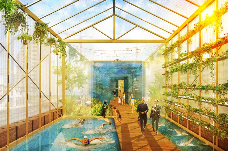 Bauchplan Designs London High Line With Aquaponics And Swimming Pools Archdaily