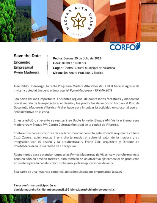 Encuentro Empresarial Pyme Maderera Villarrica 2019, PEM Madera de Alto Valor