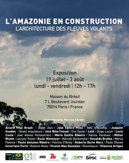 Exhibition in Paris: L'Amazonie en construction - l'architecture des fleuves volants, Exhibition Flyer