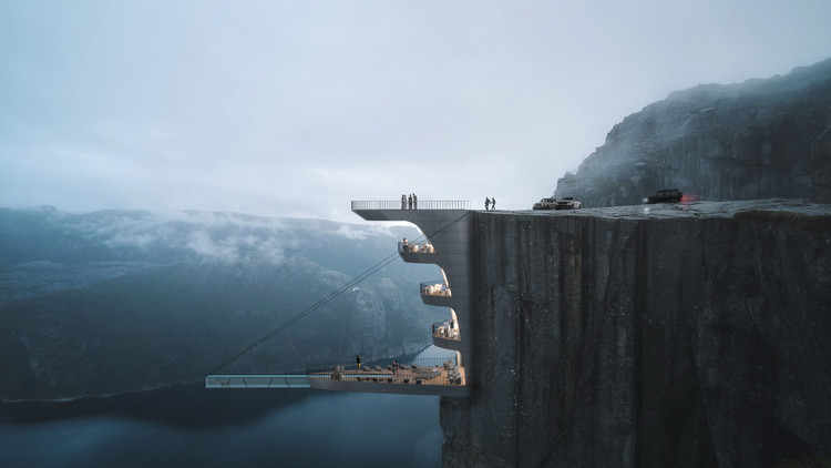 Hayri Atak's Conceptual Hotel Hangs Precariously from a Cliff, Courtesy of Hayri Atak Architectural Design Studio