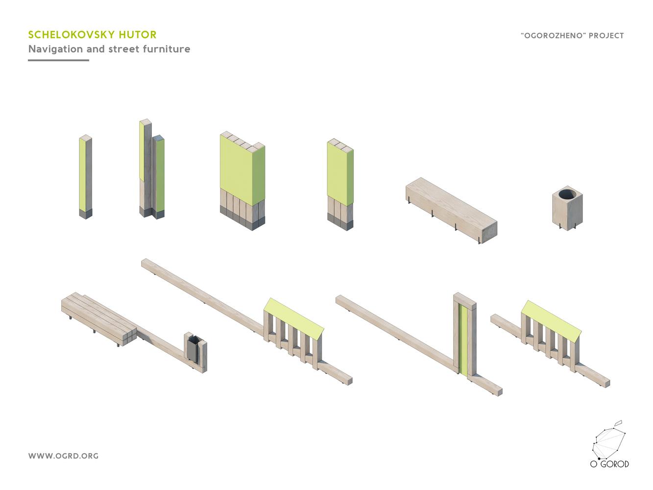 schelokovsky hutor forest park / ogorod  navigation and street furniture  diagram