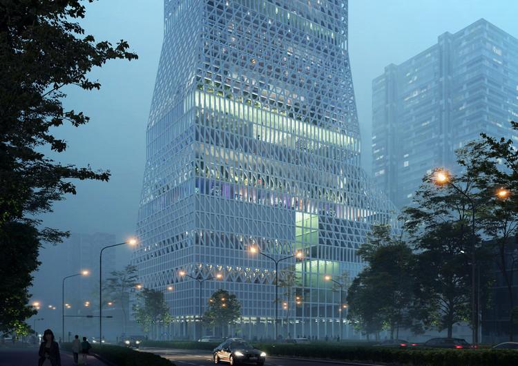Mecanoo diseñará la torre cultural para el distrito de Futian en Shenzhen, Centro de Cultura Cívica Futian. Imagen Cortesía de Mecanoo