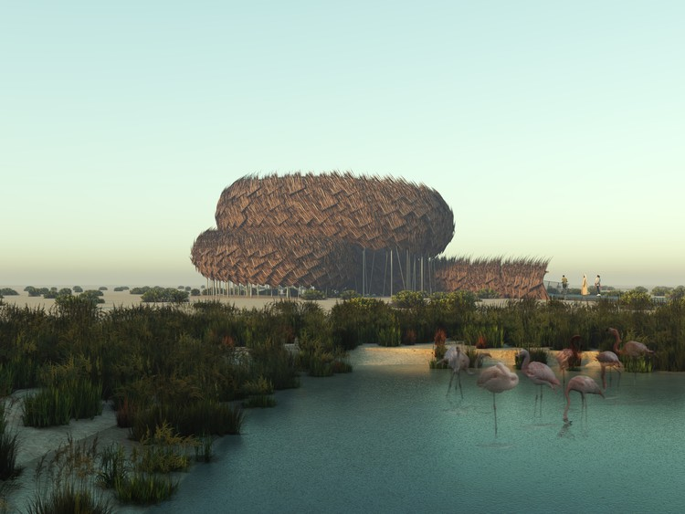 Conheça os vencedores do concurso para a Torre de Observação de Flamingos em Abu Dhabi , 1º Lugar. Imagem © Bryan Fan / Shelley Xu