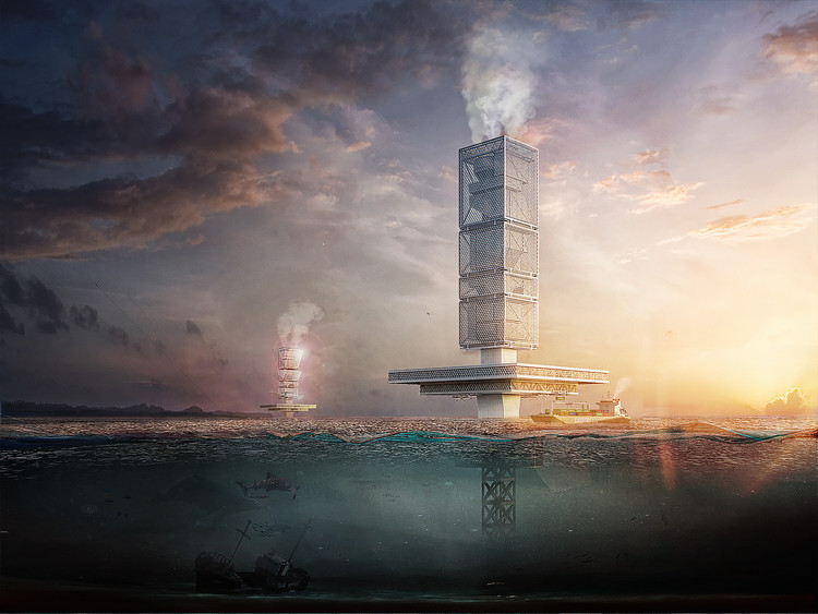 Honglin Li Designs Waste-to-Energy Skyscraper in Great Pacific Garbage Patch, FILTRATION. Image Courtesy of Honglin Li