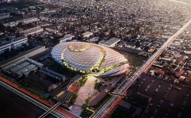 AECOM Reveals Basketball Net-Inspired Arena for Los Angeles, LA Clippers Arena. Image Courtesy of Los Angeles Clippers, AECOM