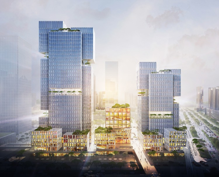gmp Designs Cubic Towers for Shenzhen, © gmp Architects