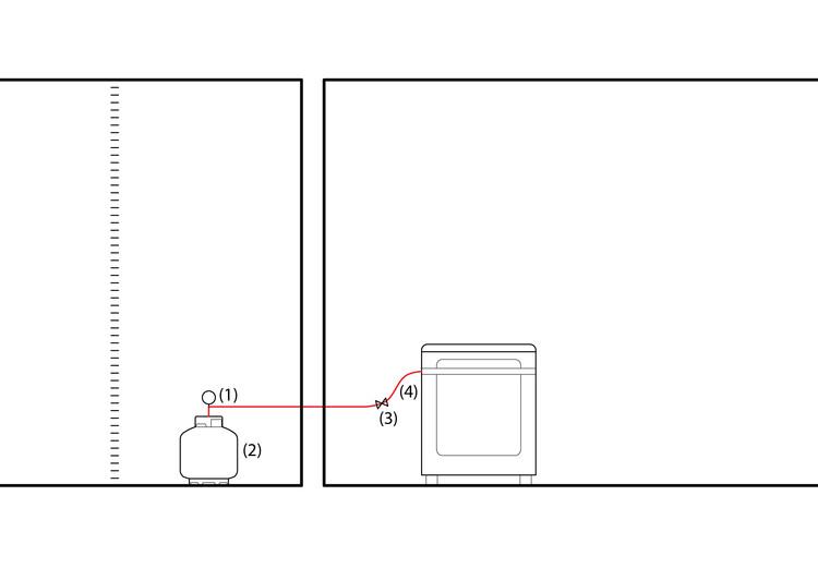 (1) Botijão de gás / (2) Regulador de Pressão / (3) Registro / (4) Mangueira Flexível. Image © ArchDaily
