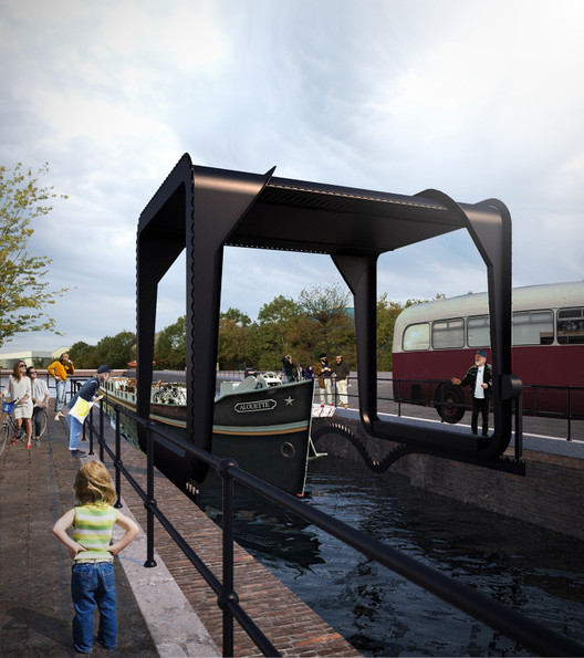 Architect Designs Giant Steel Rolling Bridge for the Overlooked Area of Cody Dock, Courtesy of Thomas Randall-Page