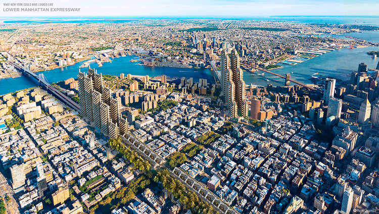 What Would 6 Cities of the United States be like if Frank Lloyd Wright or Robert Moses had Designed Them?, New York Aereal View. Image © NetCredit