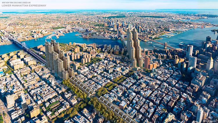 ¿Cómo serían las principales ciudades de Estados Unidos si Frank Lloyd Wright o Robert Moses las hubieran diseñado?, New York Aereal View. Image © NetCredit