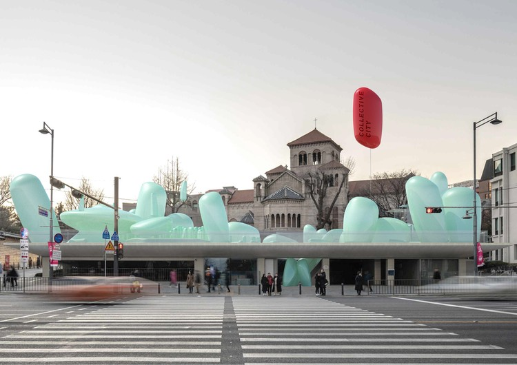 SKNYPL Designs Inflatable ETFE Garden for Seoul Hall of Urbanism and Architecture, New Korean Garden. Image Courtesy of SKNYPL