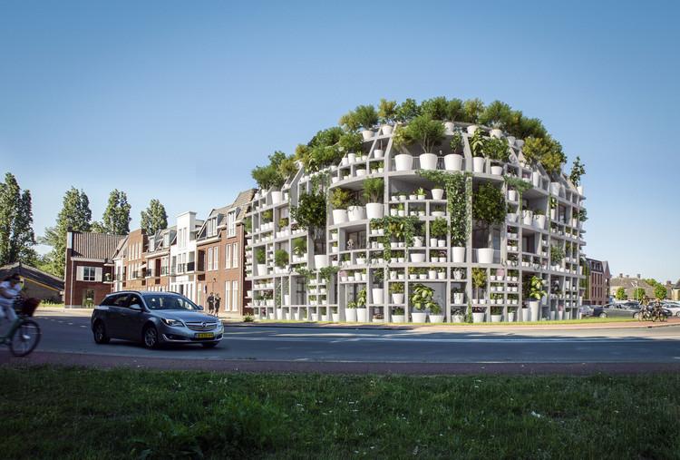 MVRDV Designs Facade of Potted Plants along Dommel River in the Netherlands, Courtesy of MVRDV