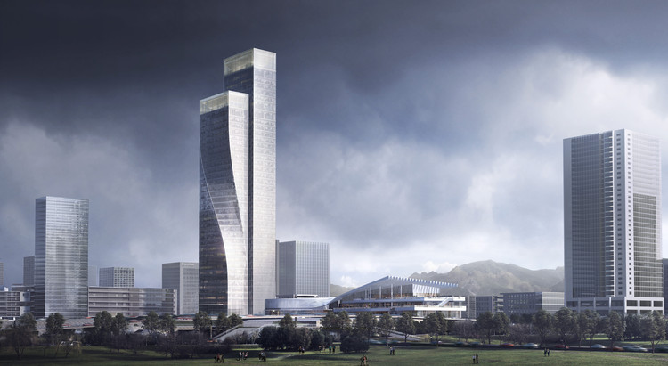 Construction in Progress on Twisting Towers in Southwest China,  Rendering – Night-time. Image Courtesy of Aedas
