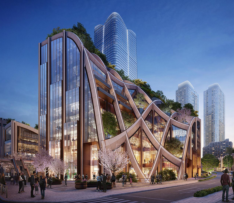Public Redevelopment for the City of Tokyo by Heatherwick Studio , East Entrance. Image Courtesy of DBOX for Mori Building Co.
