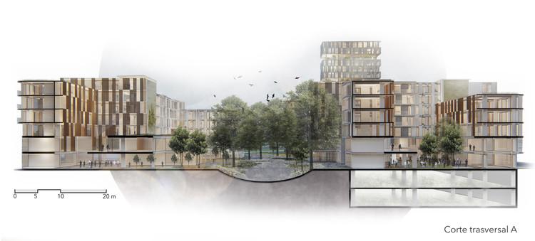 Propuesta de escalón ecológico y nodo vital residencial urbano en Ecuador: ganadores del concurso 'Microcentralidad la Y', Cortesía de Raíz Estudio