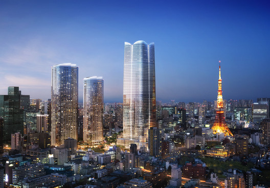 Towers of Pelli Clarke Pelli Architects . Image Courtesy of DBOX for Mori Building Co.