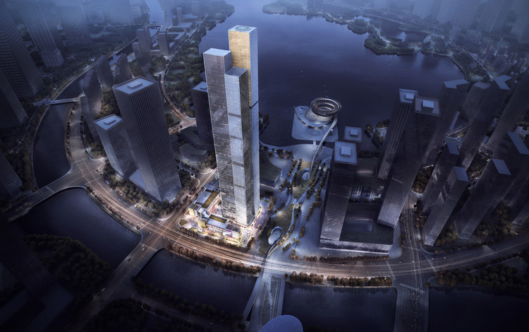 Aedas Imagine a Reflective Landmark for Changsha CBD, Courtesy of Aedas