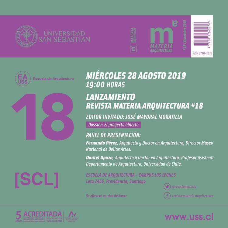Lanzamiento Revista Materia Arquitectura #18, Invitación Lanzamiento revista Materia Arquitectura #18