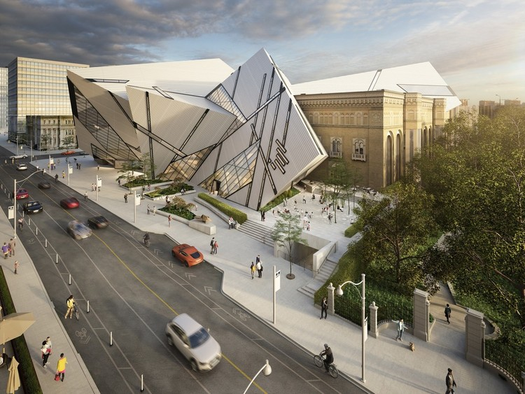 Hariri Pontarini Reveal the ROM's New Terrace and Plaza, The ROM Welcome Project aerial render. Image Courtesy of Hariri Pontarini Architects