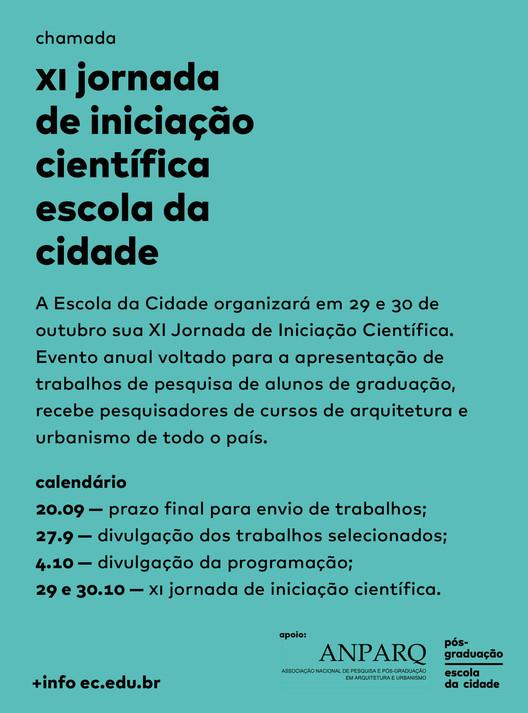XI Jornada de Iniciação Científica da Escola da Cidade – chamada de trabalhos
