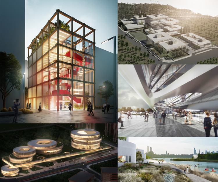 The 2019 WAFX Winning Schemes, Clockwise: MO(O)D A Prototype for an office building by SOS School of Sustainability; The School in a Park by Maisam Architects & Engineers; Skypark Business Centre South by Aravia Design & +FUN; The Tanks at Bushwick Inlet Park by Studio V Architecture; Pars Medical and Health Centre by New Wave Architecture Studio. Image © WAFX 2019