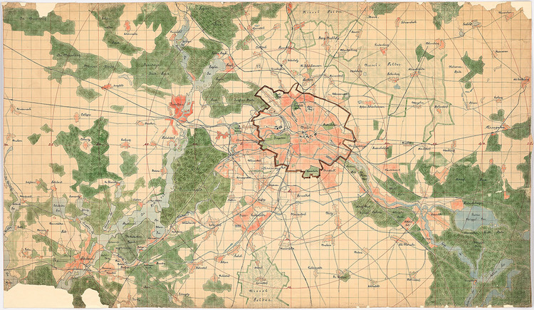 Call for Entries:  International Urban Design Ideas Competition for Berlin-Brandenburg 2070, Hermann Jansen: General plan of Berlin and surroundings, built-up areas, green and water areas on a scale of 1: 30,000 for the competition Groß-Berlin 1910