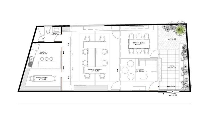 Oficinas y espacios de trabajo: ejemplos de arquitectura en planta (entre 100 m2 y 10000 m2), © Punto Arquitectónico + VE GRANDE