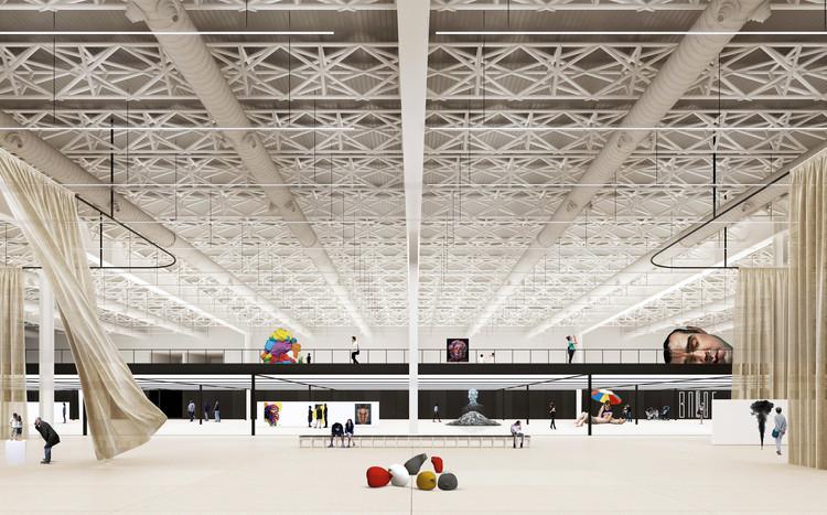 Estos son todos los ganadores del concurso Miniestadio y Pabellón Internacional - Expo 2023, 1° Premio - Sala legado. Image Cortesía de Arq. Walter Casola