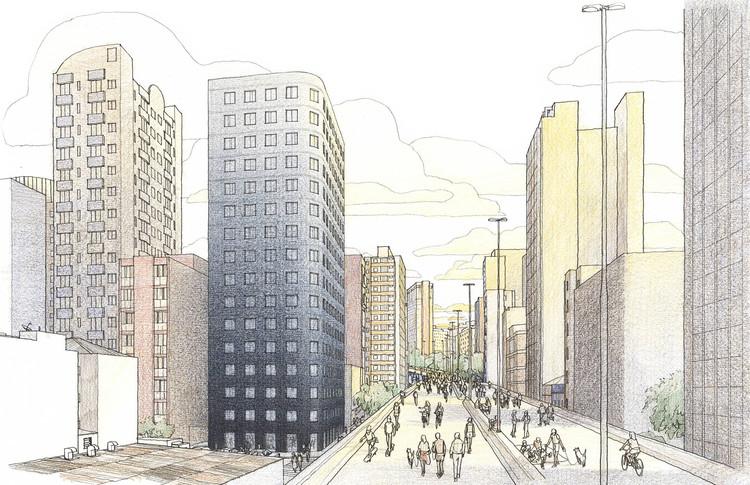 Isay Weinfeld projeta Minha Casa Minha Vida no centro de São Paulo, Croqui mostra a implantação do edifício Bem Viver Marquês de Itu. Imagem: Danilo Zamboni/Divulgação