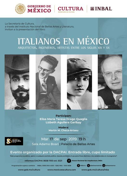Presentación de libro titulado: Italianos en México: Arquitectos, Ingenieros y Artistas entre los siglos XIX y XX