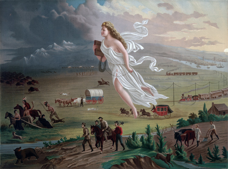 "Idealism as the Impetus of American City Planning , John Gast illustrates the westward expansion of the United States in his 1872 allegorical painting ""American Progress"". Image © United States Library of Congress's Prints and Photographs division, under Public Domain"