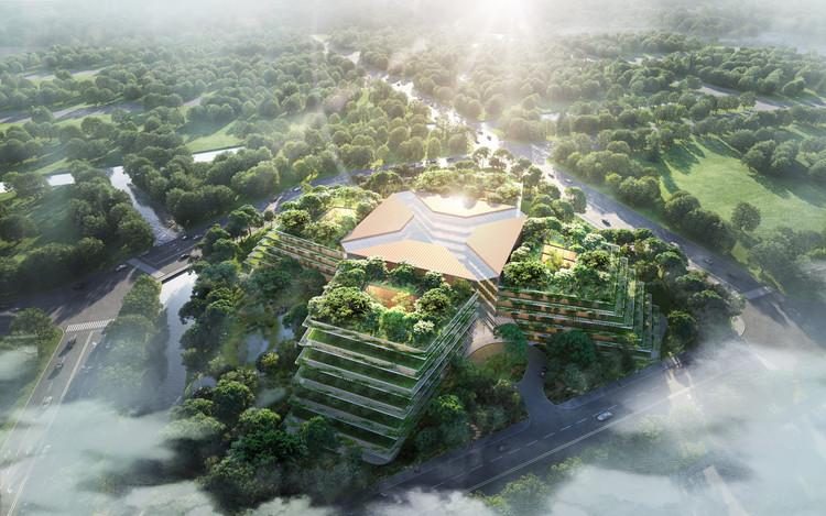 Foster+Partners projeta hospital imerso em vegetação em Xangai, © Foster + Partners