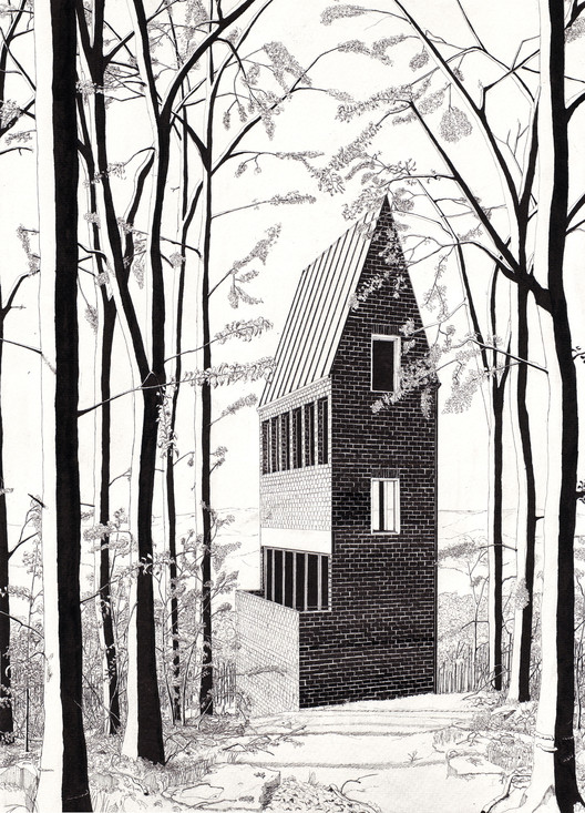 Prized Hand-Drawings Return a Building to an Organically Conceived Whole, Denis Andernach, Turmhaus, 2010, Ink on paper, 14 1/8 x 18 7/8 in