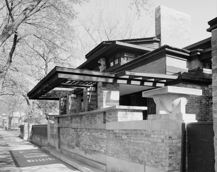 Frank Lloyd Wright Home Studio. Image © Public Property Library of Congress, Prints and Photograph Division, Historic American Building Survey
