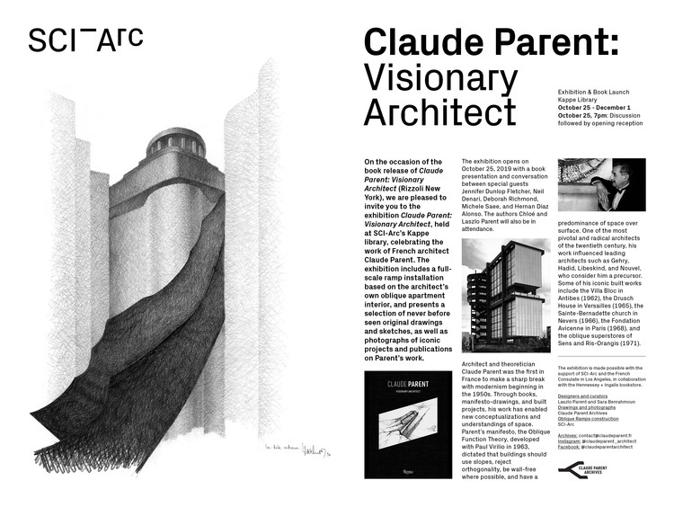 Claude Parent – Visionary Architect, Claude Parent – Visionary Architect, exhibition and book discussion at SCI-Arc